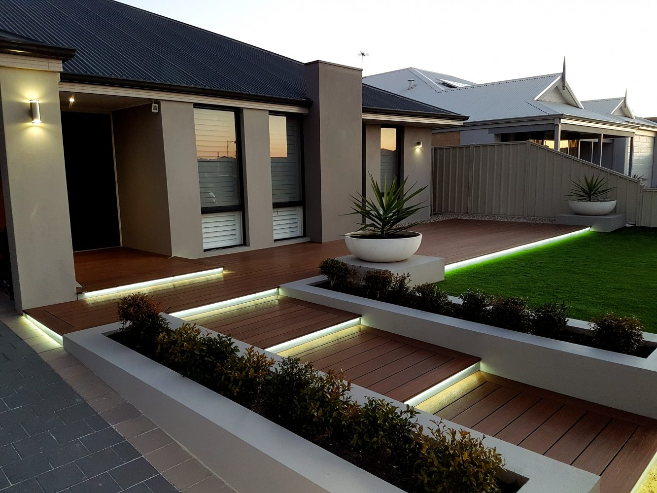 Composite decking with steps