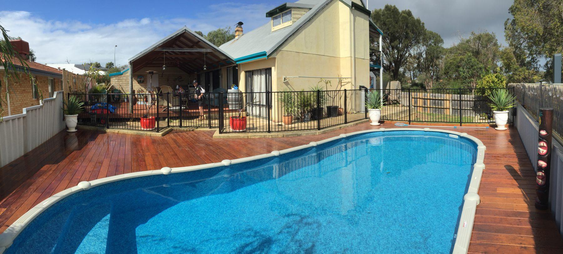 Timber pool deck