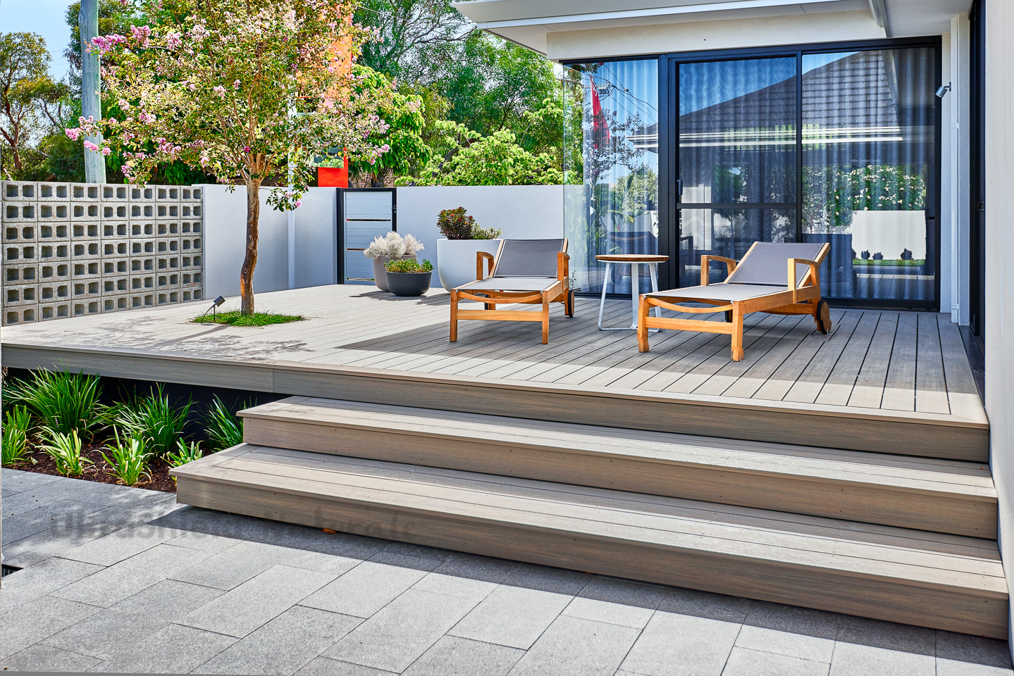 Composite deck with steps